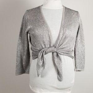 Ellen Tracy Sparkly Silver knit wrap  M